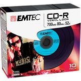 EMTEC CD-R 700 MB Vinyl-Look 10er Slimcase (ECOC801052SLVY)