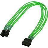 Nanoxia 30 cm sleeved neon grünes Adapterkabel für 4-Pin Molex zu 2x 3-Pin (NX42A30NG)