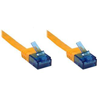 3.00m Good Connections Cat. 6a Patchkabel flach U/UTP RJ45 Stecker auf RJ45 Stecker Orange vergoldet