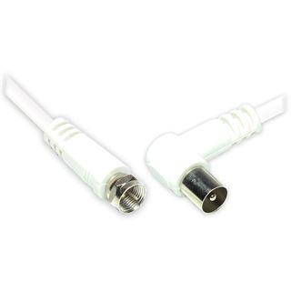 1.50m Good Connections Antennenkabel F-Stecker auf Koax Stecker gewinkelt Weiß