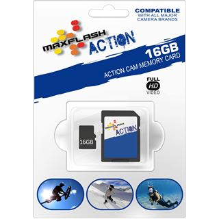 16 GB MAXFLASH Action microSDHC Class 6 Retail inkl. Adapter auf SD