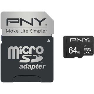 64 GB PNY Turbo Performance microSDXC Class 10 U3 Retail inkl. Adapter auf SD