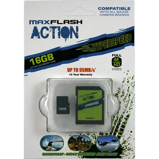 16 GB MAXFLASH Action microSDHC Class 10 U3 Retail inkl. Adapter auf SD