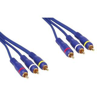 (€3,78*/1m) 5.00m Good Connections Audio/Video Anschlusskabel Premium-Line 3xCinch Stecker auf 3xCinch Stecker Lila