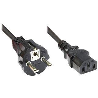 3.00m Good Connections Stromkabel Anschlusskabel gewinkelt Schutzkontakt Stecker auf Kaltgeräte Buchse C13 Schwarz