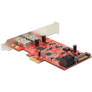Delock 89389 4 Port PCIe 2.0 x1 inkl. Low Profile Slotblech / Low Profile retail