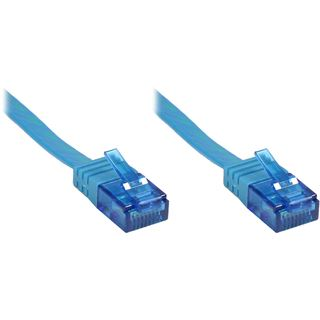 3.00m Good Connections Cat. 6a Patchkabel flach U/UTP RJ45 Stecker auf RJ45 Stecker Blau vergoldet