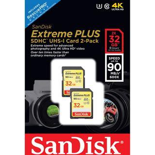 32 GB SanDisk Extreme Plus 2er Pack SDHC Class 10 U3 Retail