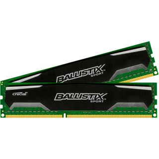 8GB Crucial Ballistix Sport Single Rank DDR3-1600 DIMM CL9 Dual Kit