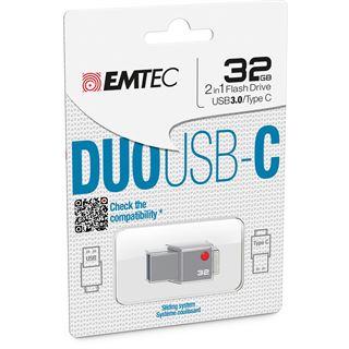 32 GB EMTEC DUO USB-C grau USB 3.0 und Typ C