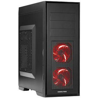 Cooltek Skall Midi Tower ohne Netzteil schwarz/rot