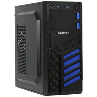 Cooltek KX Midi Tower ohne Netzteil schwarz/blau