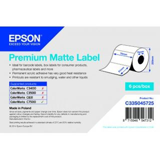 Epson Premium Matte Label 76mm x 51mm, 2310 labels