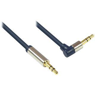 (€4,90*/1m) 1.00m Good Connections Audio Anschlusskabel gewinkelt rechts 3.5mm Klinken-Stecker auf 3.5mm Klinken-Stecker Blau vergoldet