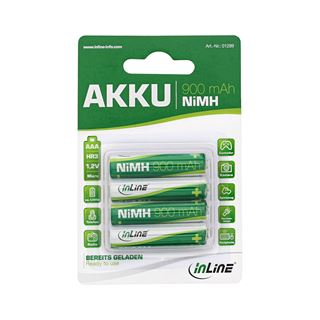 InLine HR03 Nickel-Metall-Hydrid AAA Micro Akku 900 mAh 4er Pack