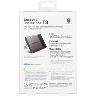 1000GB Samsung Portable SSD T3 MO-300A USB 3.0 (MU-PT1T0B/EU)
