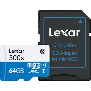 64 GB Lexar High-Performance 300x microSDXC Class 10 U1 Retail inkl.