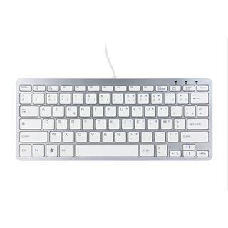 R-GO Tools Ergo Compact Tastatur AZERTY USB Englisch silber