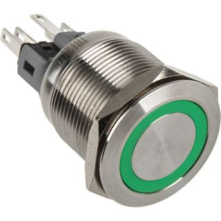 DimasTech Vandalismustaster 22mm - Silverline - grün