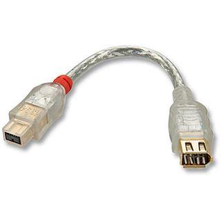 (€66,00*/1m) 0.15m Lindy FireWire800 Adapterkabel Firewire FW800 Stecker auf FW400 Stecker Transparent