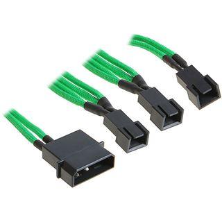 BitFenix Molex zu 3x 3-Pin Adapter 20cm - sleeved grün/schwarz