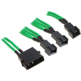 BitFenix Molex zu 3x 3-Pin 5V Adapter 20cm - sleeved grün/schwarz