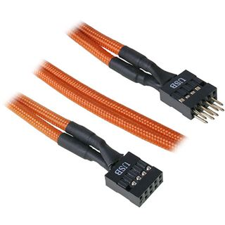 BitFenix interne USB Verlängerung 30cm - sleeved orange/schwarz