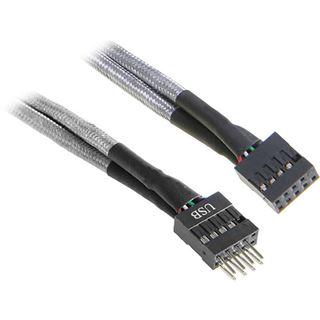 BitFenix interne USB Verlängerung 30cm - sleeved silber/schwarz