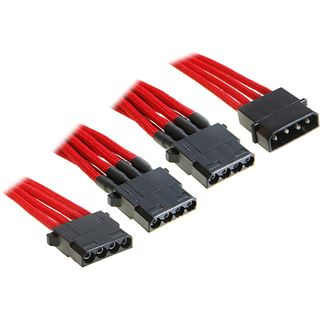 BitFenix Molex zu 3x Molex Adapter 55cm - sleeved rot/schwarz