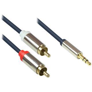 (€9,80*/1m) 0.50m Good Connections Audio Anschlusskabel doppelt geschirmt 3.5mm Klinke Stecker 3polig auf 2x RCA Stecker Blau vergoldete Stecker