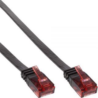 (€7,80*/1m) 0.50m InLine Cat. 6 Patchkabel flach U/UTP RJ45 Stecker auf RJ45 Stecker Schwarz