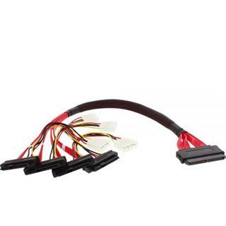 """(€55,80*/1m) 0.50m InLine SAS 6Gb/s Anschlusskabel SFF-8484 Stecker auf SFF-8482 Stecker + 5,25"""" Molex Strom Stecker Schwarz/Rot"""