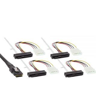 """(€39,87*/1m) 0.75m InLine SAS 6Gb/s Anschlusskabel SFF-8087 Stecker auf SFF-8482 Stecker + 5,25"""" Molex Strom Stecker Schwarz"""