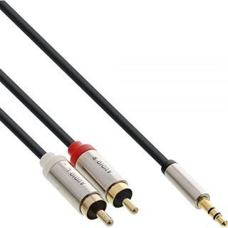 (€2,30*/1m) 3.00m InLine Audio Adapterkabel 3.5mm Klinke Buchse Stereo auf 2xCinch Stecker Schwarz Slim