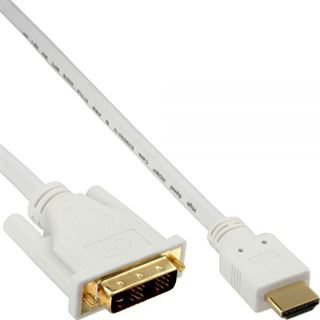 (€3,30*/1m) 3.00m InLine HDMI Adapterkabel HDMI-Stecker auf DVI 18+1 Stecker Weiß vergoldet