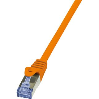 (€2,45*/1m) 2.00m LogiLink Cat. 6a Patchkabel S/FTP PiMF RJ45 Stecker auf RJ45 Stecker Orange