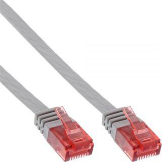 (€0,99*/1m) 7.00m InLine Cat. 6 Patchkabel flach U/UTP RJ45 Stecker auf RJ45 Stecker Grau