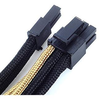 Silverstone PCI-8-Pin zu PCIe-6+2-Pin Kabel, 250mm - schwarz/gold