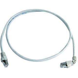 (€2,18*/1m) 5.00m Telegärtner Cat. 6a Patchkabel S/FTP RJ45 Stecker auf RJ45 Stecker gewinkelt Grau halogenfrei