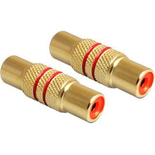 Delock Audio/Video Adapter Cinch Buchse auf Cinch Buchse Rot vergoldet