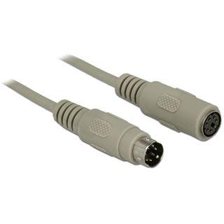(€0,73*/1m) 15.00m Delock PS/2 Verlängerungskabel PS/2 Stecker auf PS/2 Buchse Grau