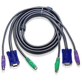 (€4,97*/1m) 3.00m ATEN Technology KVM Anschlusskabel VGA 15pol Stecker + 2xPS2 Stecker auf VGA 15pol Buchse + 2xPS2 Stecker Schwarz flach