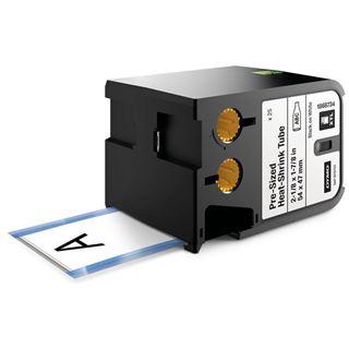 """Dymo HEAT XTL 2-1/8"""" x 1-7/8"""" (54 mm x 47 mm) vorkonfektionierter Schrumpfschlauch, schwarz auf weiß"""