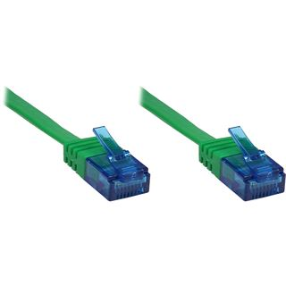 3.00m Good Connections Cat. 6a Patchkabel flach U/UTP RJ45 Stecker auf RJ45 Stecker Grün vergoldet