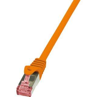 (€4,90*/1m) 1.00m LogiLink Cat. 6 Patchkabel S/FTP PiMF RJ45 Stecker auf RJ45 Stecker Orange halogenfrei / Twisted Pair