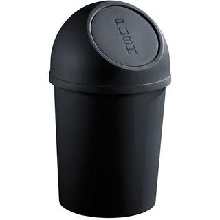 helit Abfalleimer mit Push-Einwurfklappe, 6 Liter,schwarz