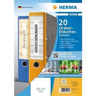 Herma HOME Ordnerrücken-Etiketten, 192 x 62 mm, weiß