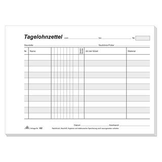 """RNK Verlag Vordruck """"Tagelohnzettel"""", Block, SD, DIN A5 quer"""