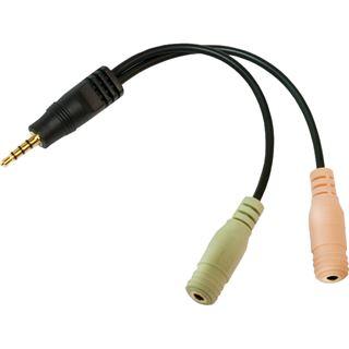 (€32,67*/1m) 0.15m LogiLink Audio Adapterkabel 3.5mm Klinken-Stecker auf 2x3.5mm Klinke Buchse Stereo Schwarz vergoldet
