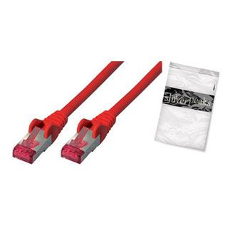 (€19,60*/1m) 0.25m ShiverPeaks Cat. 6a Patchkabel S/FTP PiMF RJ45 Stecker auf RJ45 Stecker Rot halogenfrei / Polybag